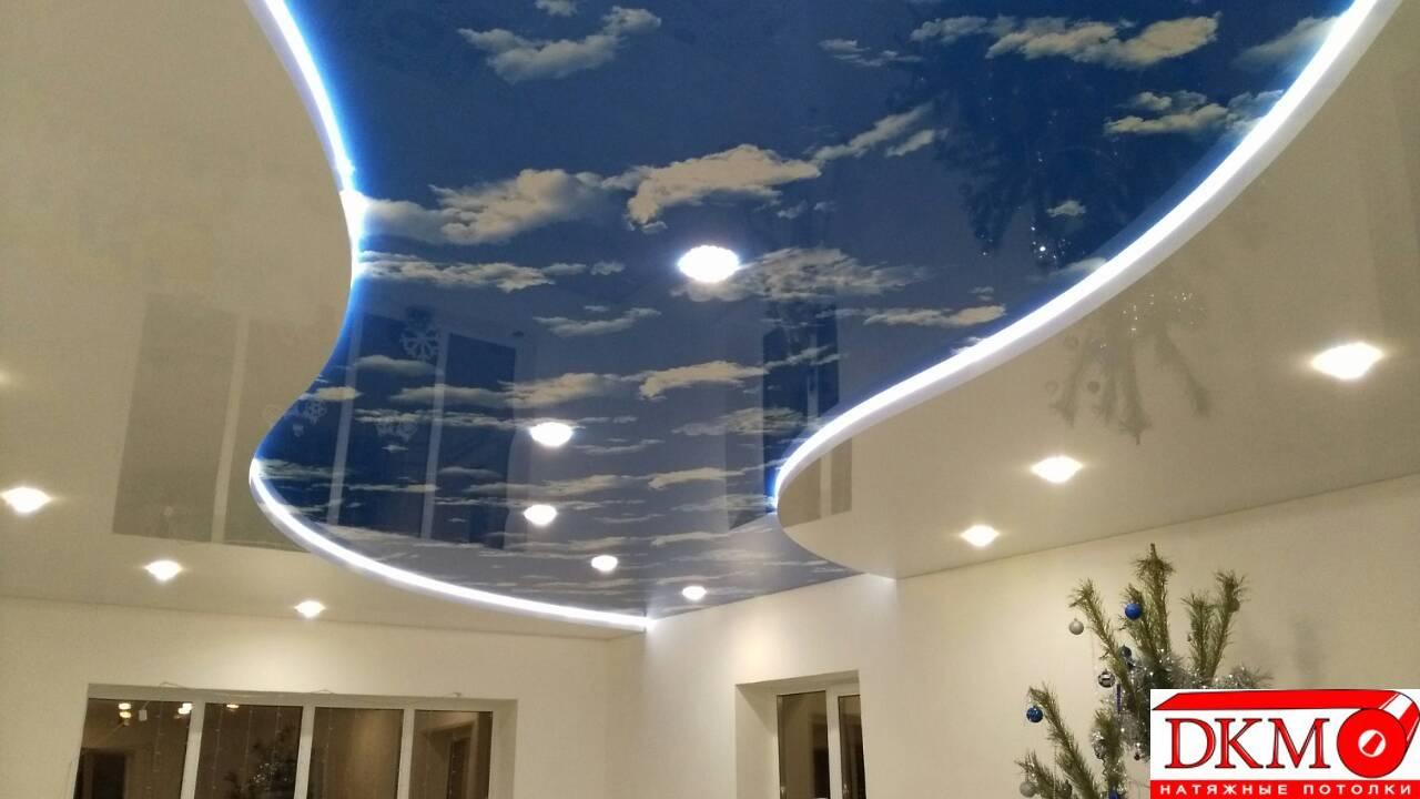 Натяжные потолки с 3d эффектом или звездным небом, с рисунком или фотопечатью, подвесные из гипсокартона или панелей пвх в дизайне ванной