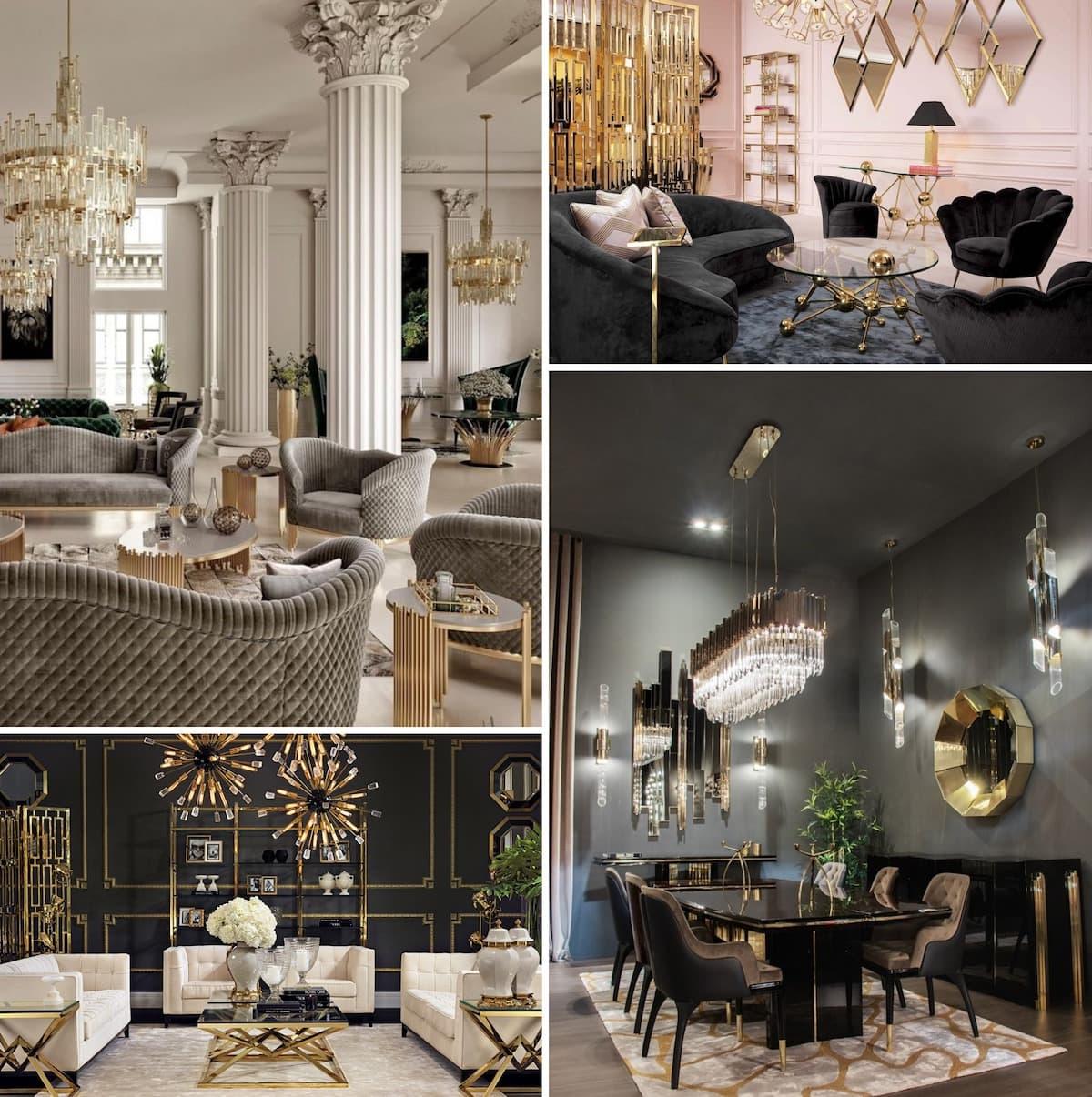 Стиль арт-деко в дизайне интерьера гостиной комнаты