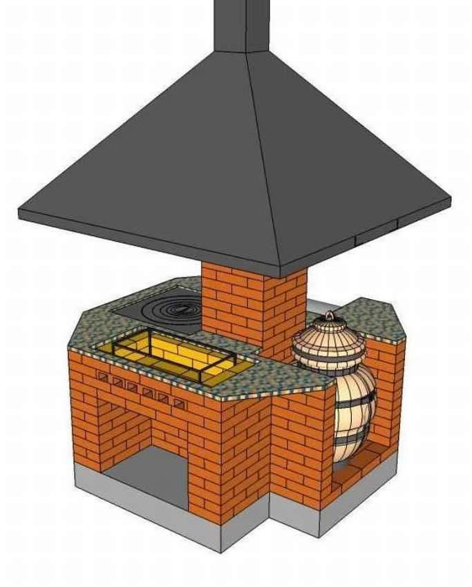 Кладка печи барбекю из кирпича: чертежи, фото
