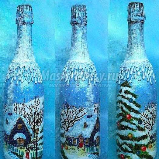 Декор бутылок лентами — роскошно, витиевато, необычно