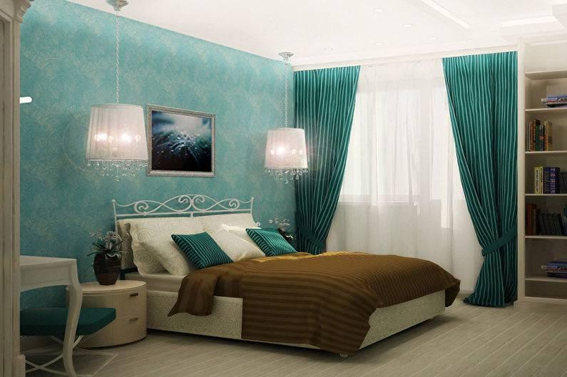 Дизайн спальни в бирюзовых цветах — особенности цвета, сочетания, обустройство