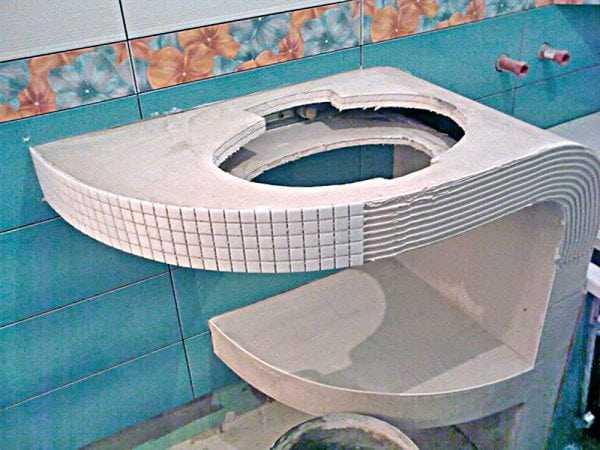 Укладка мозаики на гипсокартон в ванной