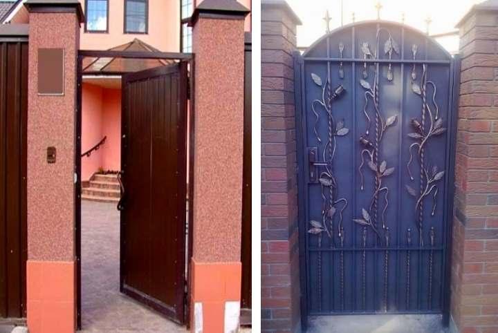 Как сделать калитки из профнастила и ворота: установка и оформление своими руками +Фото с элементами ковки - Обзор