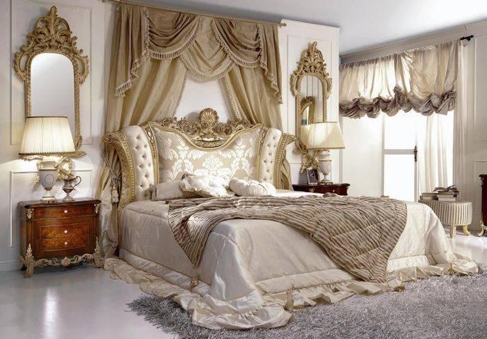 Спальня в стиле барокко (53 фото): выбор гарнитура и штор для интерьера, особенности дизайна в белых и других тонах