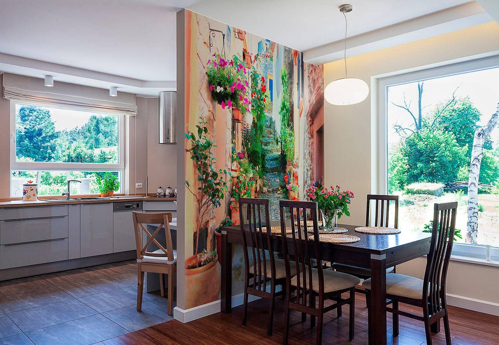 Как расширить пространство на кухне с помощью фотообоев