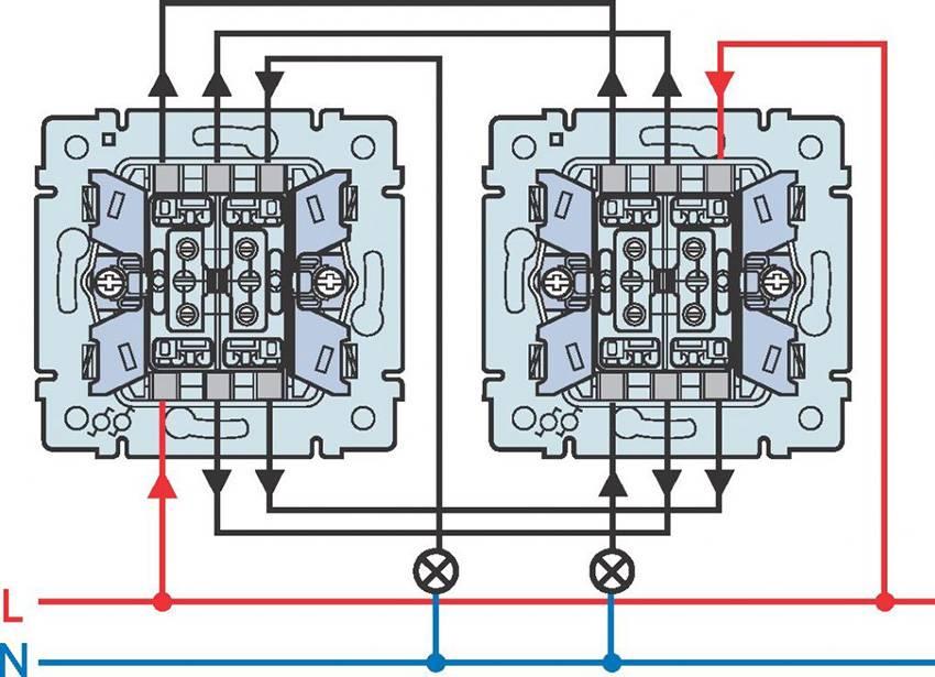 Схема подключения проходного выключателя с двух мест