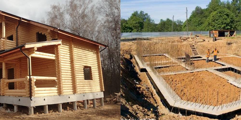 Фундамент для дома из бревна: какой лучше выбрать