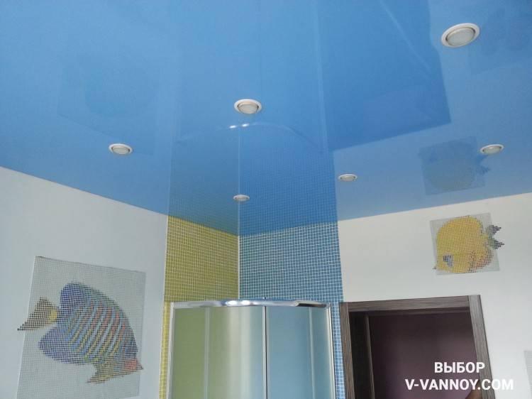 Потолок в ванной натяжной, натяжной потолок в туалете