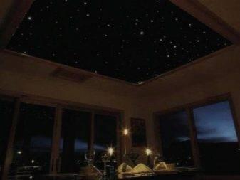 Потолок звездное небо: использование оптоволокна, готовых панелей, наклеек, художественной росписи, светящихся обоев и светодиодов