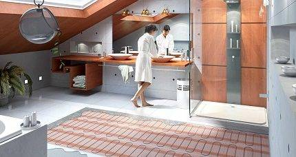 Укладка теплого пола в ванной комнате