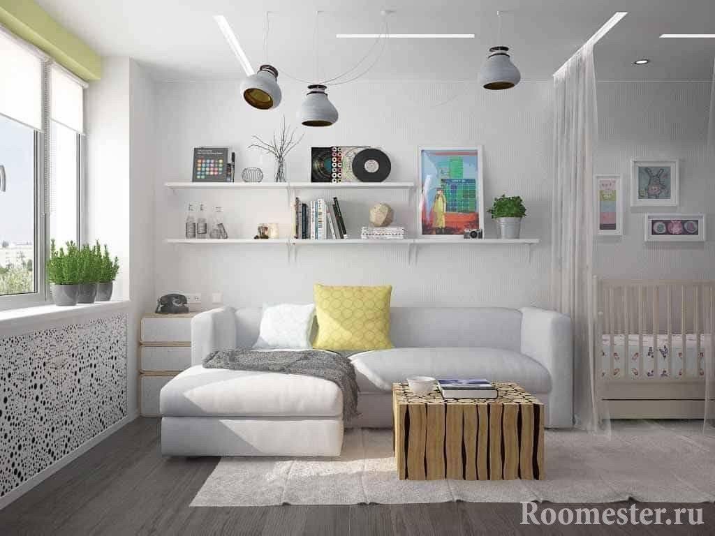 Дизайн однокомнатной квартиры для семьи сребёнком— фото