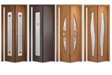 Складные двери (57 фото): двойные стеклянные модели, складывающиеся пополам, с поворотным и раскладным механизмом