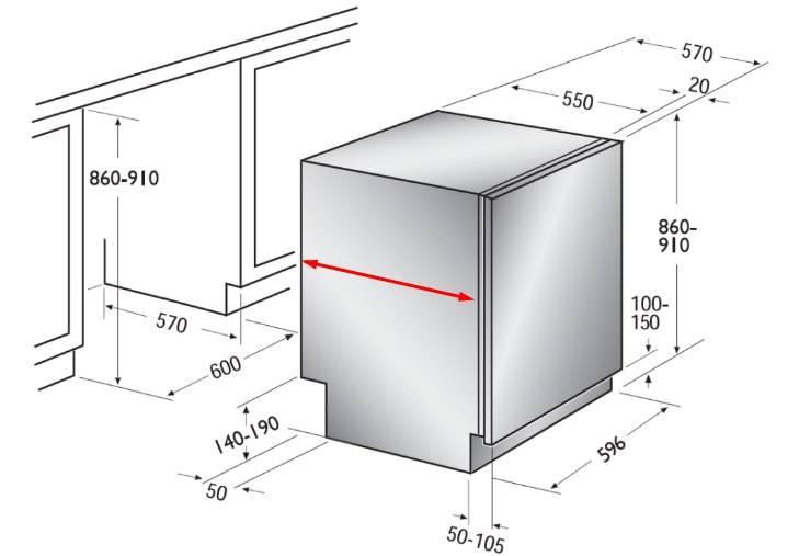 Размер ниши под посудомоечную машину 45 и 60 см