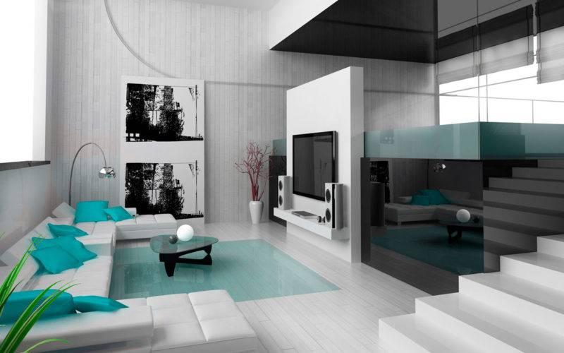 Интерьер квартиры: кухня-гостиная в стиле хайтек. фото