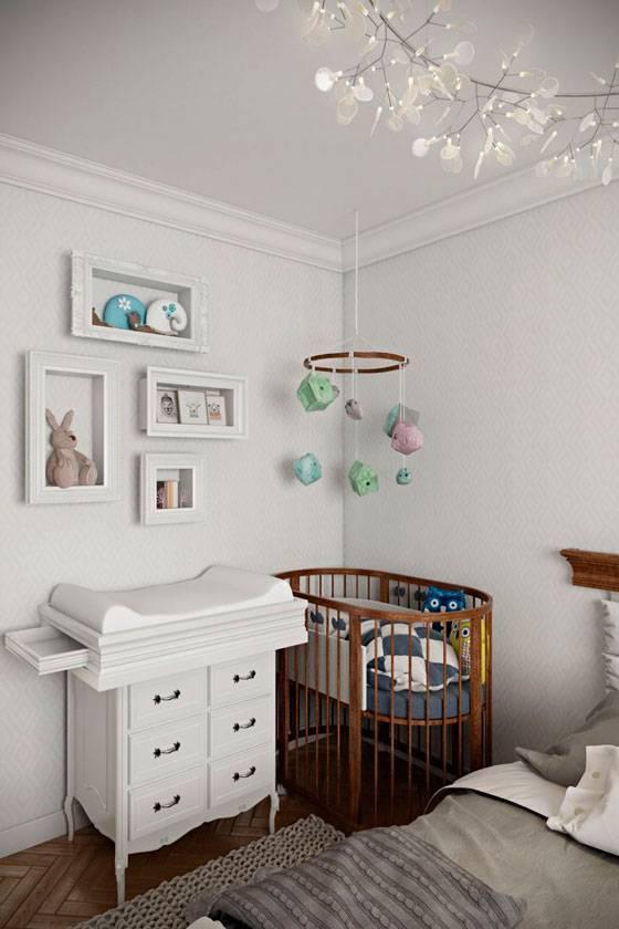 Спальня с детской кроваткой в родительской комнате: с выдвижным местом, дизайн и фото, интерьер комнаты