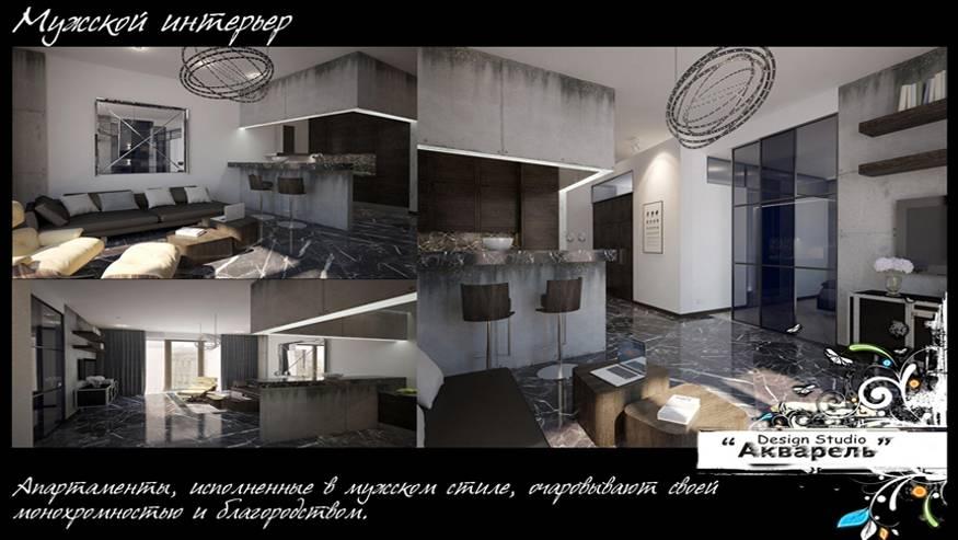 Современный и стильный мужской интерьер спальни, однокомнатной квартиры или студии, цвета и брутальный дизайн