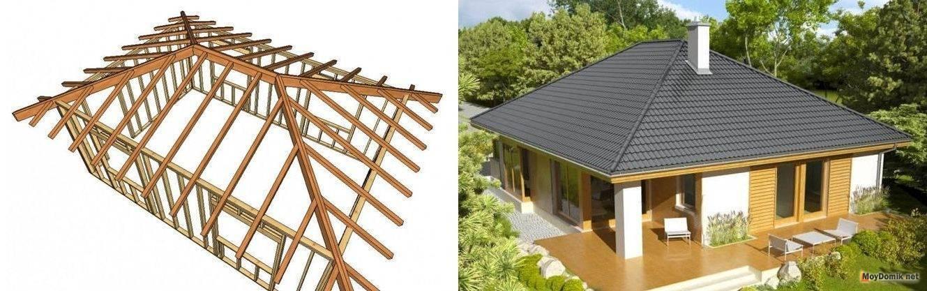 Стропильная система четырехскатной крыши - монтаж, чертежи и расчет устройства