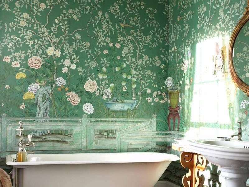 Обои в ванной комнате: фото жидких, виниловых и флизилиновых обоев в интерьере ванной, особенности выбора и нанесения