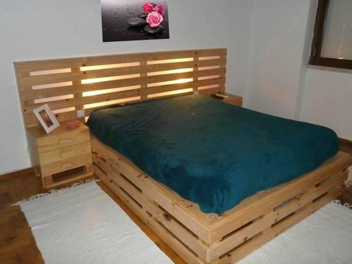Кровать из поддонов с подсветкой: необычная мебель своими руками ( фото)