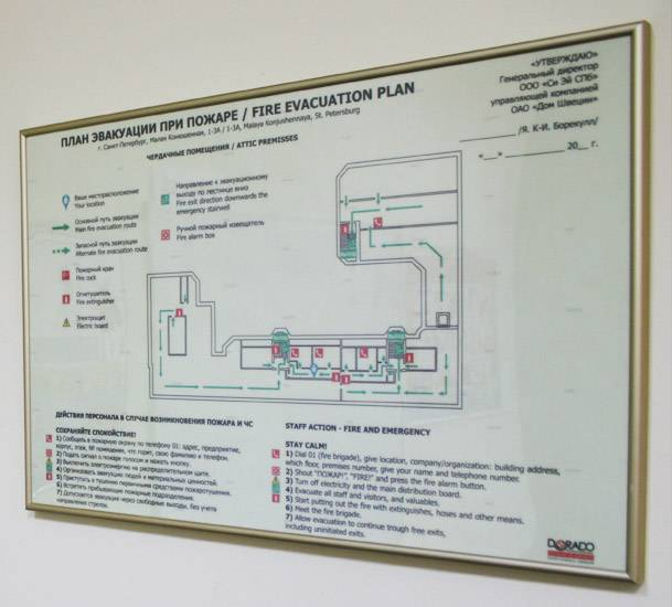 План эвакуации при пожаре по гост. требования, образец