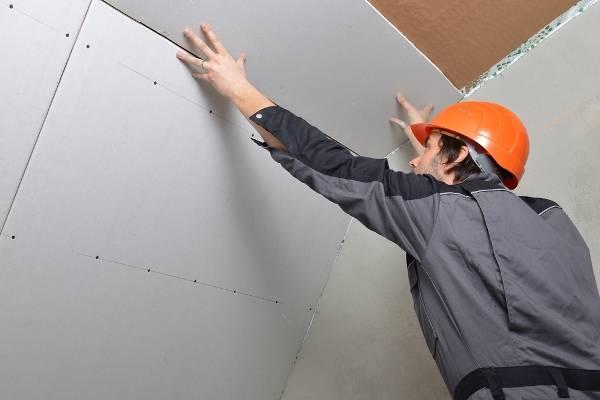 Как одному крепить гипсокартон к потолку: монтаж гкл на профиль и клей (видео)