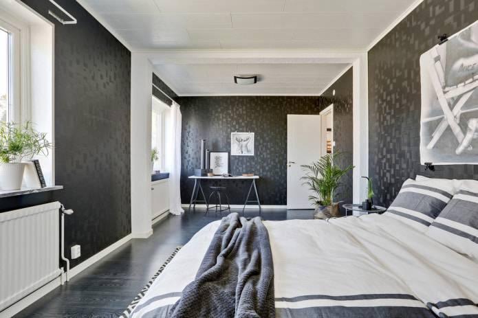 Черные обои (79 фото): черно-красный цвет стен в интерьере комнаты, выбираем красивые обои с надписями и золотым рисунком на темном фоне