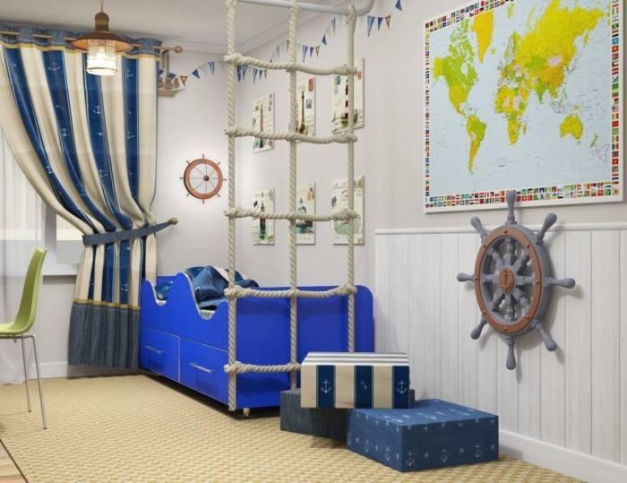 Детская в морском стиле: оформление комнаты для мальчика и девочки при помощи штор и других аксессуаров