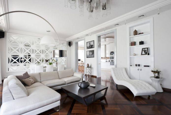 Черно-белая гостиная: 50 фото, идеи дизайна