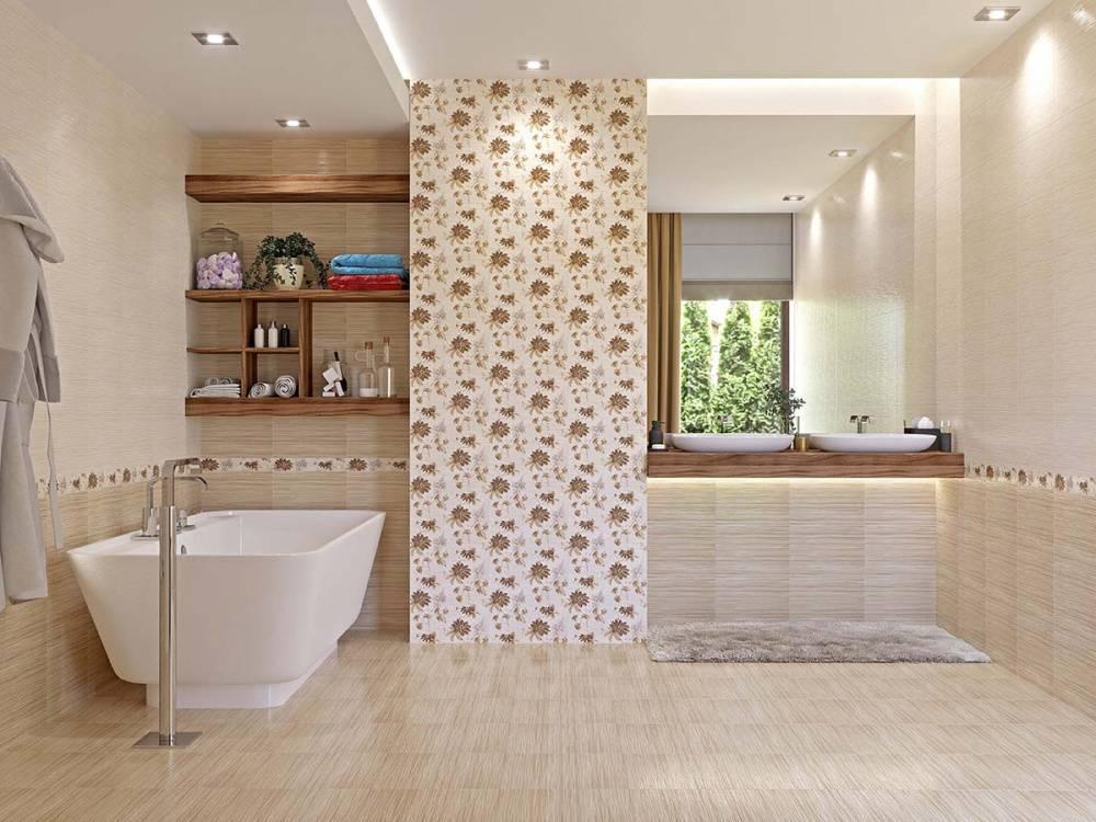 Керамический бордюр для ванной: примеры в интерьере