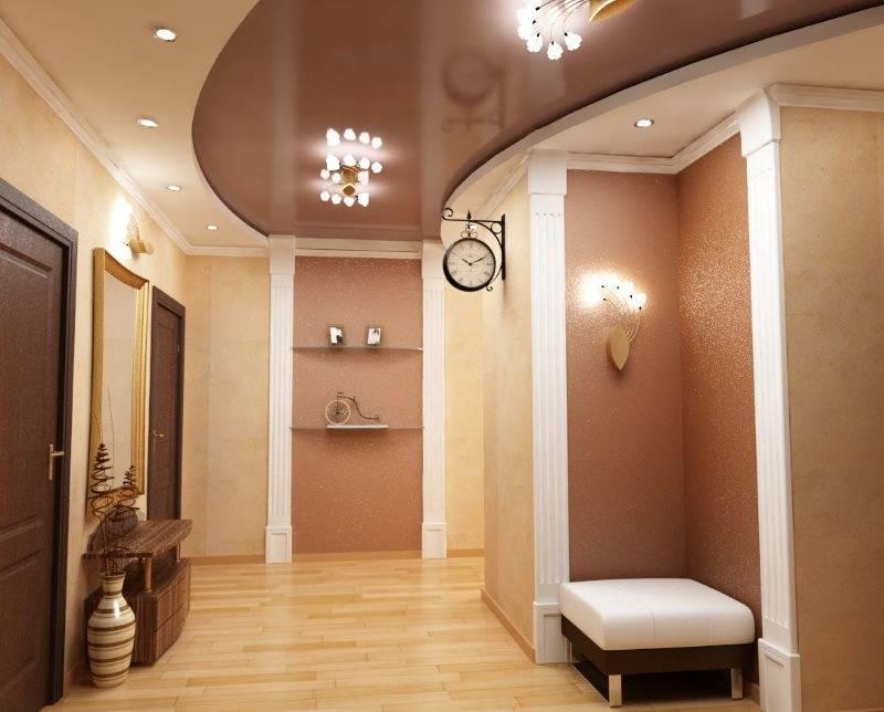 Варианты реализации освещения для натяжного потолка в коридоре.