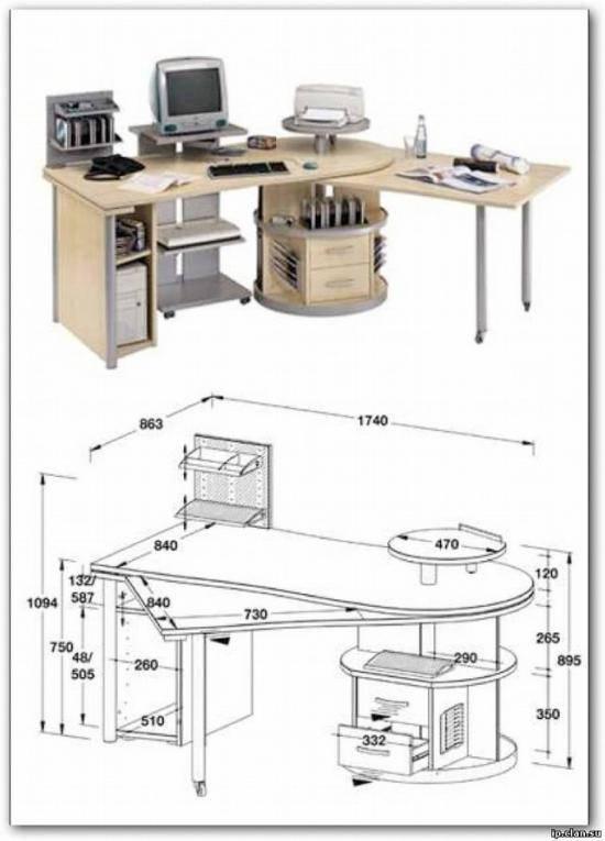 Компьютерный стол своими руками: чертежи, схемы, размеры, фото-проекты
