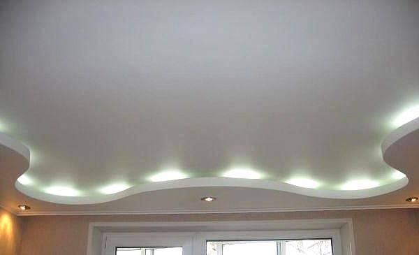 Двухуровневый потолок с подсветкой из гипсокартона своими руками, фото, по периметру, каркас