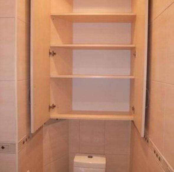 Шкаф в туалете за унитазом (30 примеров с фото)