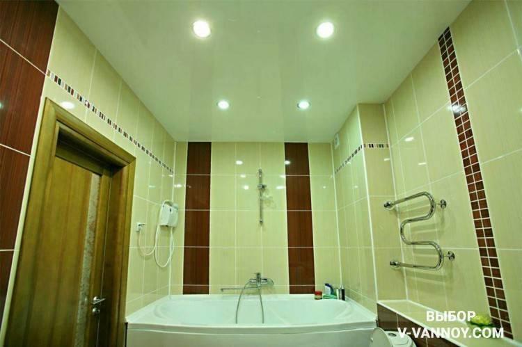 Натяжные потолки в ванной: плюсы и минусы, цвета и дизайн