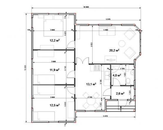 Дом 10 на 10 - реальные фото современных проектов. планировка комнат, чертежи + инструкция