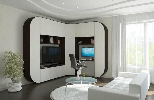 Угловой шкаф в гостиную, разновидности и формы, как разместить