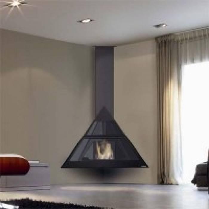 Подвесной камин в интерьере квартиры и дома