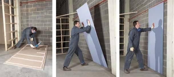 Способы и этапы отделки стен гипсокартоном без каркаса и профиля