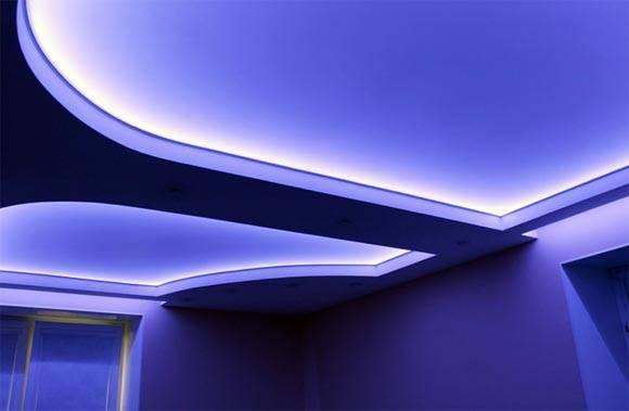 Подсветка натяжного потолка светодиодной лентой - виды, способы монтажа - блог о строительстве