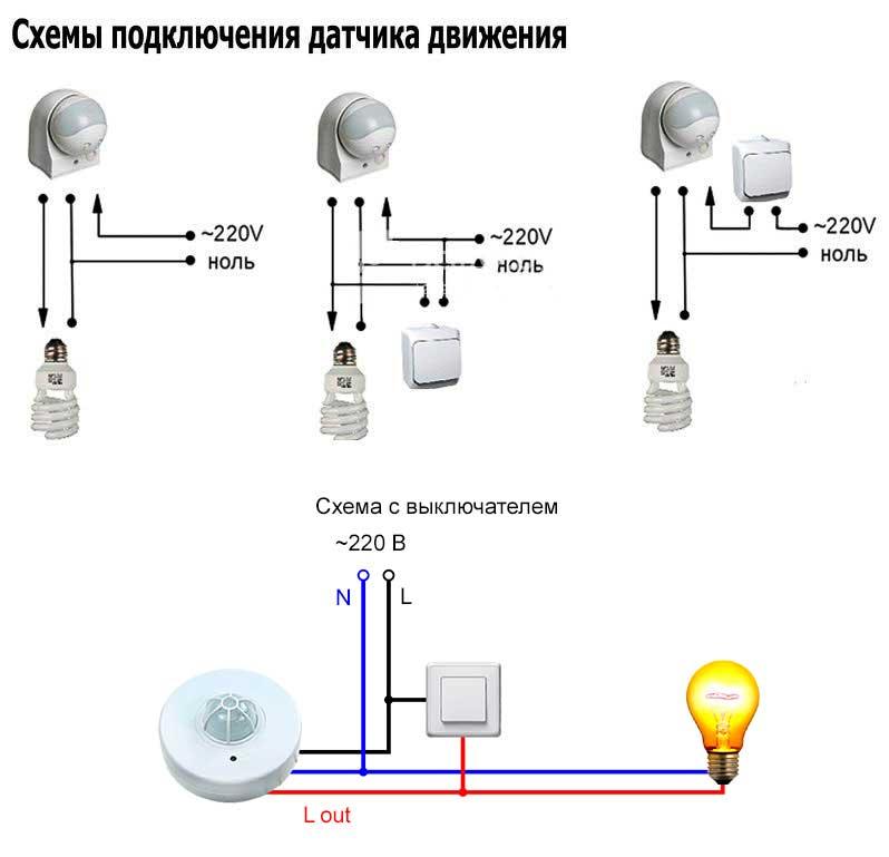 Как подключить датчик движения включения света