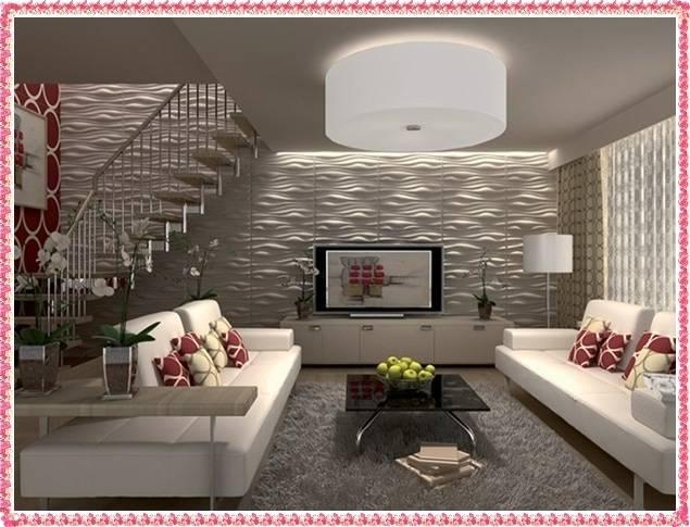 3d обои на стенах в интерьере комнаты, панорамные и с эффектом объема