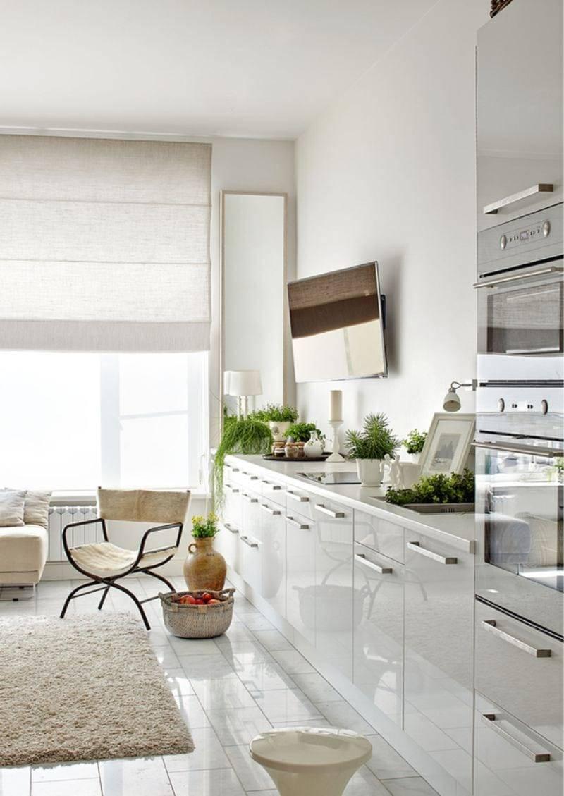 Каким должен быть дизайн кухни, если в ней нет верхних шкафов