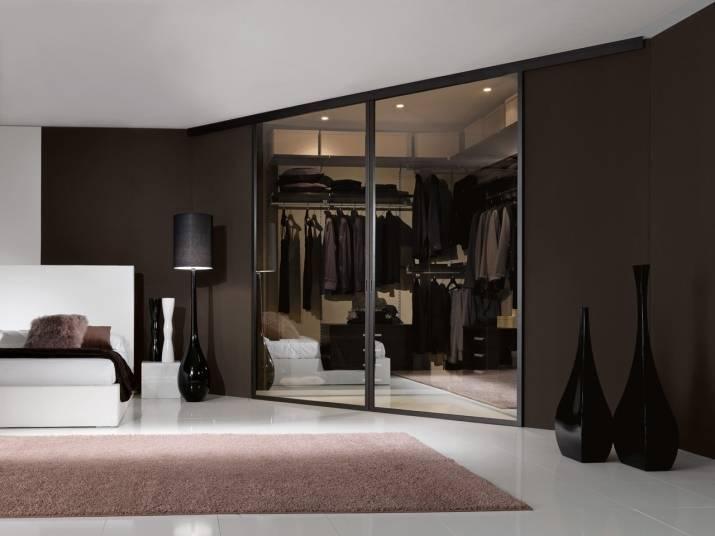 Двери-купе в гардеробную (48 фото): складные гармошкой и купейные зеркальные, штора вместо двери и радиусные для комнаты
