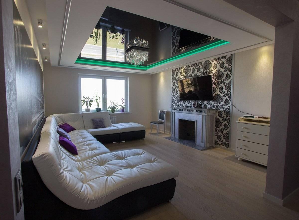 Черно-белый натяжной потолок (39 фото): потолочные покрытия в дизайне интерьера коридора