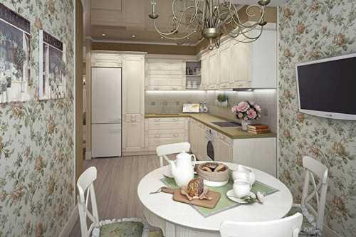 Кухня в стиле прованс: шторы, обои, фартук, цвета, фото в интерьере