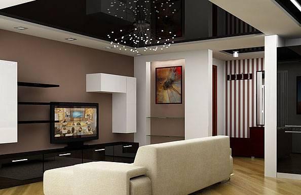Черный потолок (64 фото): черновой потолок в спальне, дизайн интерьера комнаты с белыми стенами и полом, как подобрать шторы