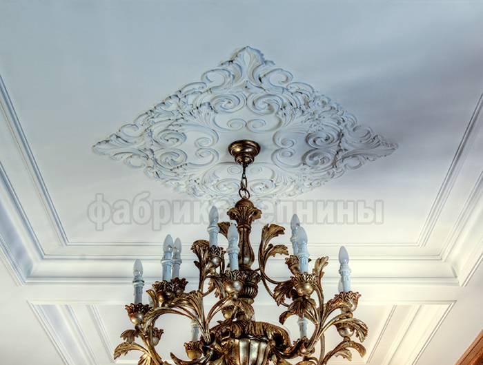 Лепнина на потолке из гипса, полиуретана, пенопласта, отделка и оформление классические