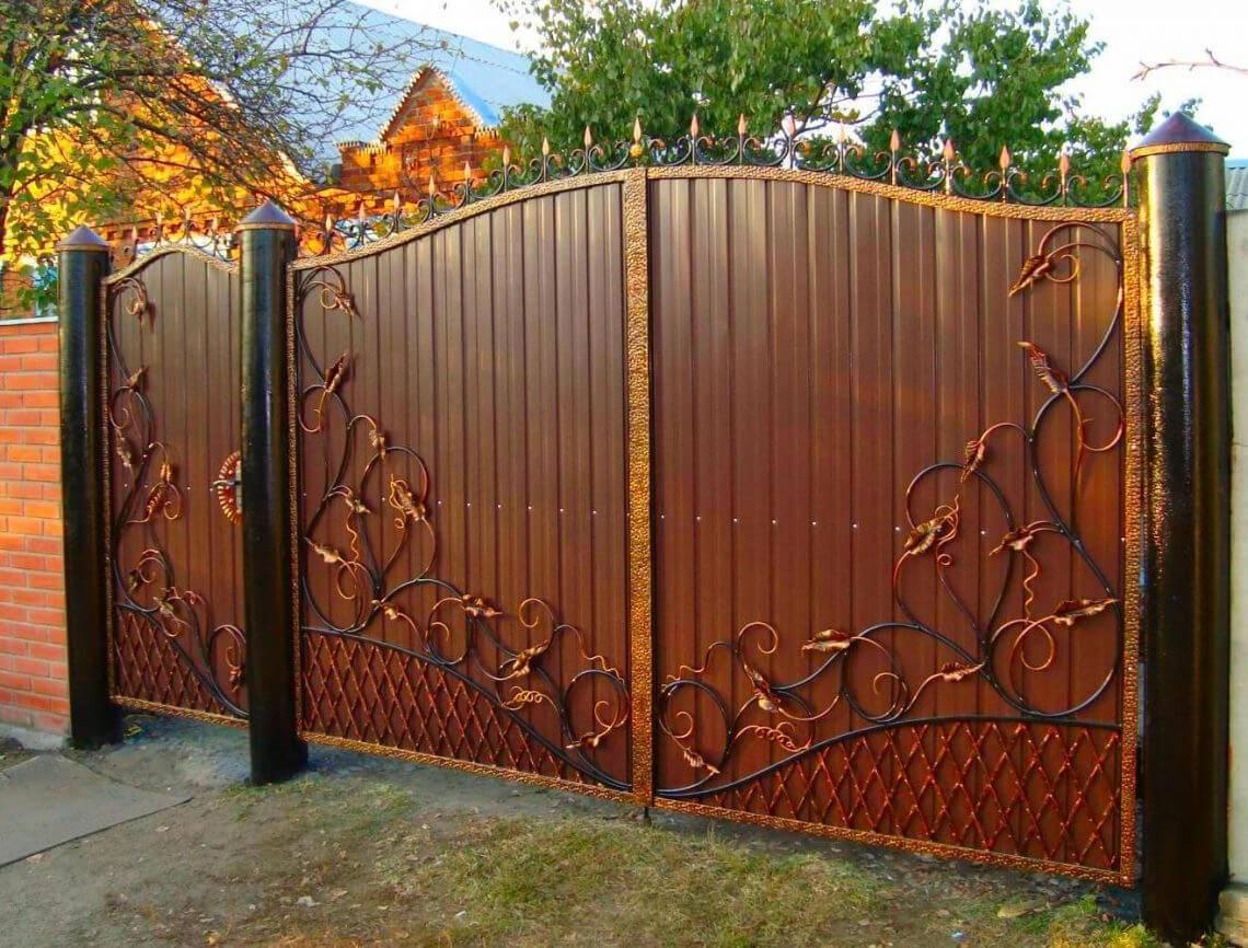 Красивые распашные ворота — современные и оригинальные варианты на фото и видео в обзоре!