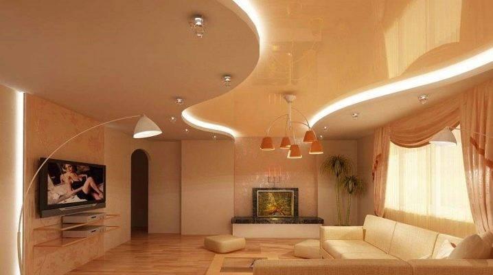 Натяжные потолки в интерьере гостиной: 60 современных вариантов дизайна
