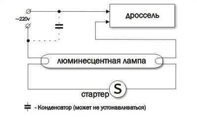Схемы подключения люминесцентных ламп с конденсатором, дросселем, эпра и без стартера